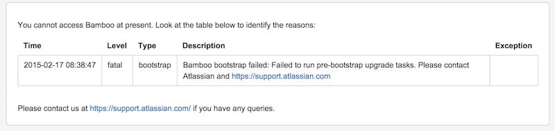 Bamboo Bootstrap Failed