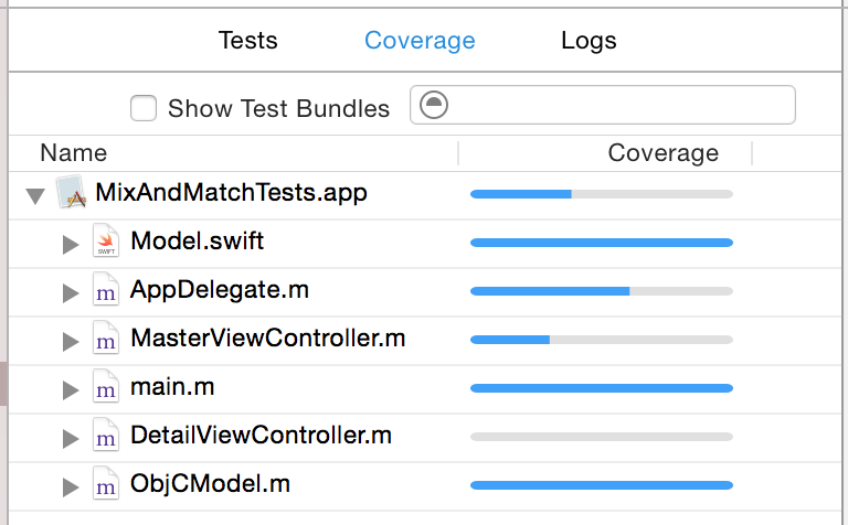 Xcode Coverage Report